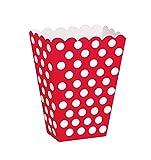 Unique Party- Treat Box Scatole Popcorn Sorpresa in Set da 8, Rosso (Red), Confezione...