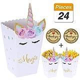 YANGTE 24 Pezzi Scatole di Snack per Popcorn Arcobaleno Modello di Unicorno Scatole...